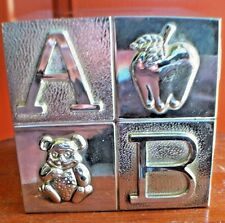 New listing Vintage Silver Plated Square Abc Baby Bank with Stopper by Elegant