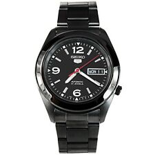 SEIKO MEN AUTOMATIC SEE THROUGH BLACK ION PLATED WATCH SNKM79 SNKM79K1