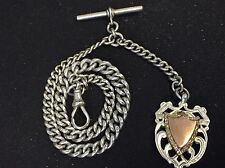 Antique Sterling Silver Pocket Watch Albert Chain With Silver Fob Fullhallmark