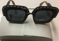 New Authentic Prada SPR26R UA6 1A1 Black Leather Wood Square Sunglasses Italy