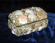 "LARGE 6"" HAND MADE SEA SHELL COVERED TREASURE CHEST, KEEPSAKE / JEWELRY BOX"
