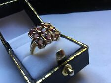 Hallmarked HM 9ct 9k Gold Ruby Diamond Square Checkerboard Cluster Ring