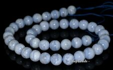 8MM CHALCEDONY BLUE LACE AGATE GEMSTONE AA BLUE ROUND 8MM LOOSE BEADS 7.5""