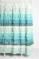 Shabby Beach Cottage Chic Dreamy Ruffled Green & Teal Ruffles Shower Curtain New