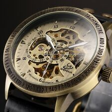 Skeleton Transparent Bronze Automatic Men Mechanical Analog Leather Watch