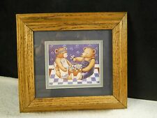 "Cute Teddy Bear Picture Framed Matted 9"" x 9"" – includes Artist's signature"