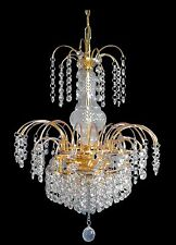 Lead Crystal Chandelier.  Traditional Waterfall In Gold Or Chrome