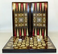 "16"" Turkish Backgammon Checkers Set in Mother of Pearl Mosaic Decoupage"