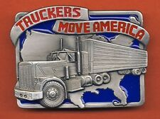 TRUCKERS MOVE AMERICA PEWTER BELT BUCKLE