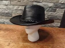 Casual Outfittesr Leather Cowboy Hat Black Distressed Tooled Braided Size Large