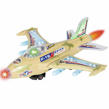Kids Toy F-16 Figher Jet Airplane, Flashing Lights and Sound, Bump and Go A