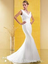 IVORY SATIN RUCHED MERMAID MOONLIGHT STYLE S1964 BRIDAL GOWN SIZE 10