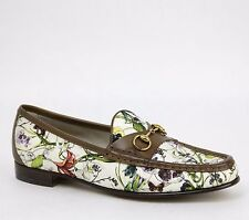 New Gucci Women's Floral Canvas Horsebit Loafer IT 41.5/US 11.5, 309717 8452