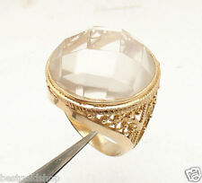 Size 10 Technibond 27 Ct Genuine Clear Quartz Ring 14K Yellow Gold Clad Silver