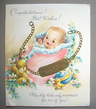 Congratulations New Baby  vintage greeting card  *AA