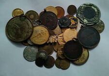 MIX LOT OF VERY RARE 40 MEDALS, TOKENS, TAGS, BOTTONS, COINS etc.
