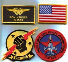 RON SLIDER KERNER TOP GUN MOVIE US NAVY F-14 SQUADRON Movie Costume Patch Set 2