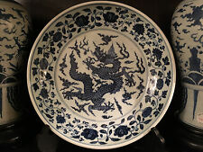 A Large Fine Chinese Ming Style Blue and White Porcelain Charger. Marked.