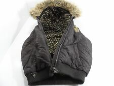 ROCAWEAR Youth Brown Puffy Fur Trim Hooded Jacket w/o Sleeve - Size S (7) - VGC