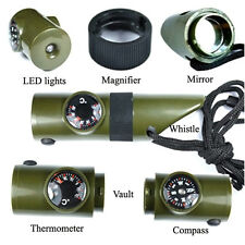 7 in 1 Military Style Emergency Whistle Survival Kit Compass Thermometer LED NEW
