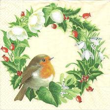 4 Solo Papel Servilletas Para Decoupage Hermosa Corona De Navidad Pájaro Flores