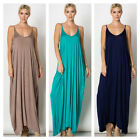 USA Women Solid Spaghetti Strap Harlem Side Pocket Casual Long Maxi Dress