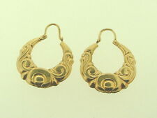 9 carat yellow Gold Creole  HOOP Earrings