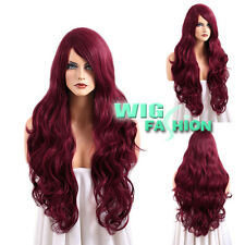 Heat Resistant Long Curly Dark Red Fashion Hair Wig