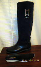 Menghi Slim Rain boots Leather Suede shaft Rubber bottom Made in Italy 37 7.5