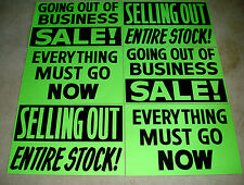 6 Asst. GOING OUT OF BUSINESS Window Signs 2x3  Black on Green Paper