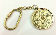 Vintage Nautical Antique Brass Perpetual Calendar KEY CHAIN Collectible Keyrings