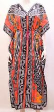 PLUS SIZE FUNKY BOHO HIPPIE FLORAL ABSTRACT GRID OMBRE LONG KAFTAN MULTI 26