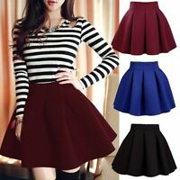 Sexy Mini Short High Waist Skater Skirt Jersey Plain Flared Pleated A-Line Dress