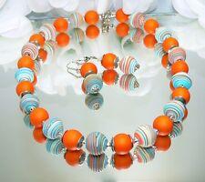 # SCHMUCKSET KETTE OHRRING FIMOPERLE SPIRALE orange türkis perle orange  447h