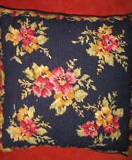 """Vintage Floral Wool Needlepoint Pillow Red Navy Yellow 13.5"""" Navy Velveteen Back"""