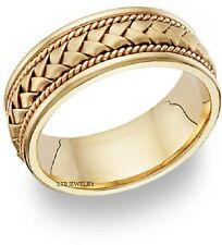 18K YELLOW GOLD MENS MANS BRAIDED WEDDING BAND RING