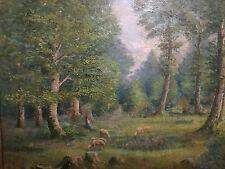 """HSb Huile sur bois """" La bergère dans la forêt"""" Fin 19 ème Signé"""