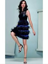 BNWT * Coast *Size 10 Izzy Black Feather / Leather / Lace Evening Dress RRP £250