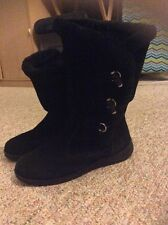 Womens White Mountain Black Suede Winter Boots Size 8