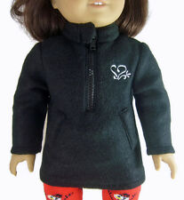 """SALE Black Fleece Pullover Winter Jacket made for 18"""" American Girl Doll Clothes"""