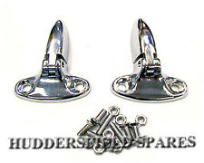 Chrome Boot Hinges Pair with fixings for Classic Mini, NEW