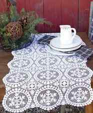 "Heritage Lace YULETIDE Christmas White 19""x39"" Table Runner"