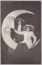Pretty Antique RPPC: Two Ladies Sitting On Paper Moon - Straw Hats - Glamour