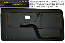 YELLOW STITCH 2X FRONT FULL DOOR CARD SKIN COVERS FITS BMW 3 SERIES E30 COUPE