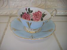 BEAUTIFUL QUEEN ANNE TEA CUP & SAUCER - Baby Blue with Rose Color Tea Roses