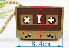 "Cassette Tape Music Wooden Necklace Hip Hop Music Wood Fashion Beads 36"" Chain"