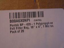 "NEW LOT OF 20 PENTEK  BP-420-1 POLYPROPYLENE  FELT FILTER 1 MICRON BAGS 18"" X 4"""