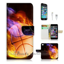"""iPhone 6 (4.7"""") Print Flip Wallet Case Cover! Basketball in Flame P0298"""