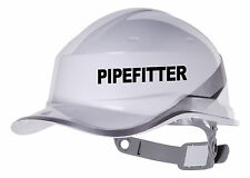 2X PIPEFITTER  Hard Hat vinyl decal. Sticker transfer CUSTOM COLOUR & FONT