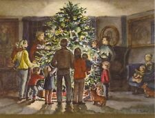 MINT Vintage Tasha Tudor Irene Dash Christmas Tree Card Family Corgi #ET86-34V